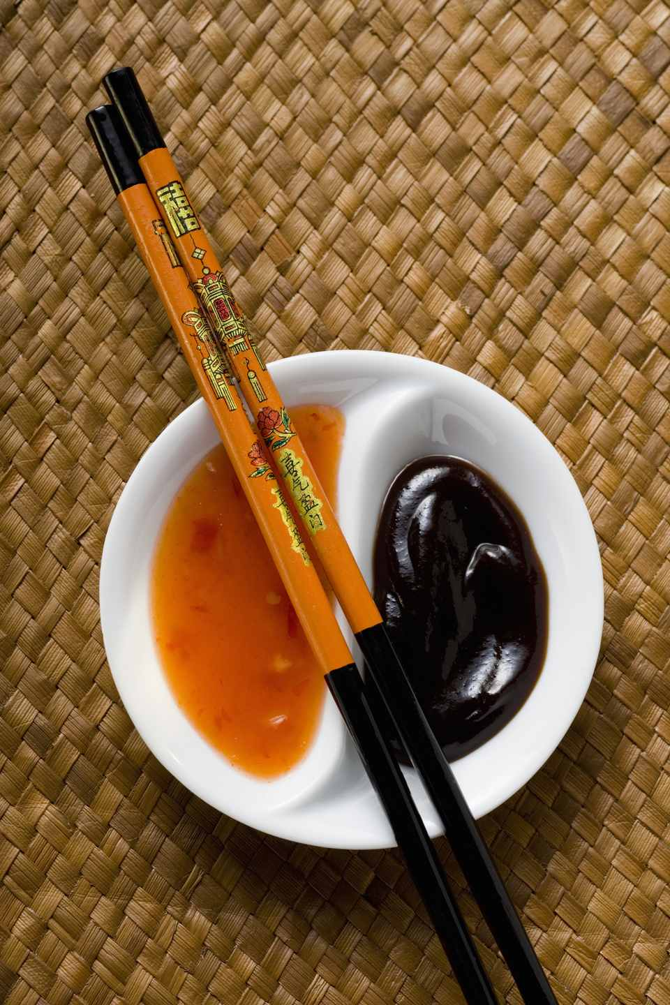 Hoisin sauce and sweet and sour chili sauce
