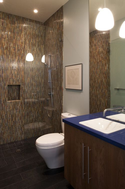Colorful Mosaic Tile Walk-In Shower