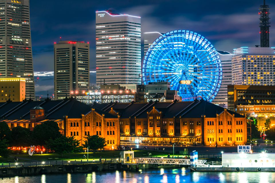 City by night at Yokohama