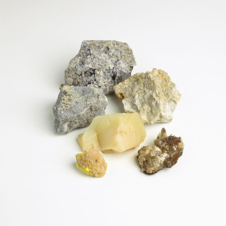 Pieces of calcite, blue aragonite, opal, sodalite