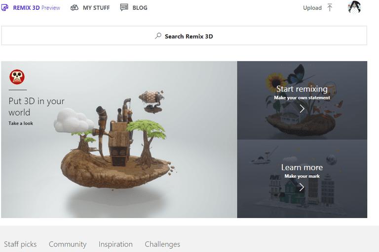 Screenshot of the Remix 3D website