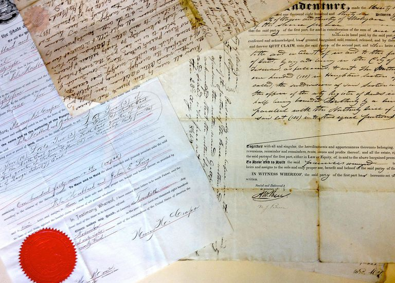 Historical land documents from the Burton Historical Collection of the Detroit Public Library, Michigan