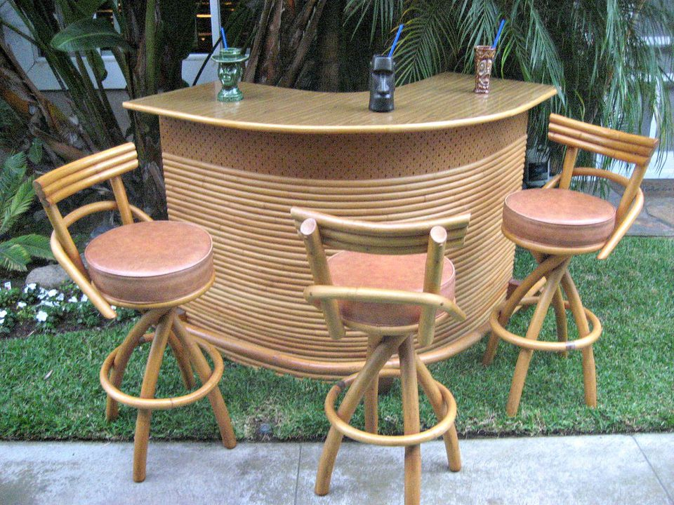 A vintage curving rattan bar with matching barstools  Wicker  Paradise Flickr CC by 2 0. A Guide to Buying Vintage Patio Furniture