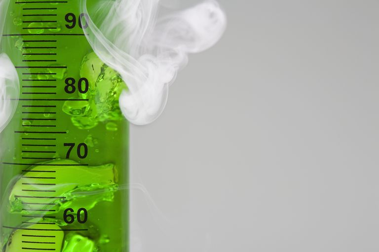A chemical reaction may produce smoke, bubbles, or a color change.