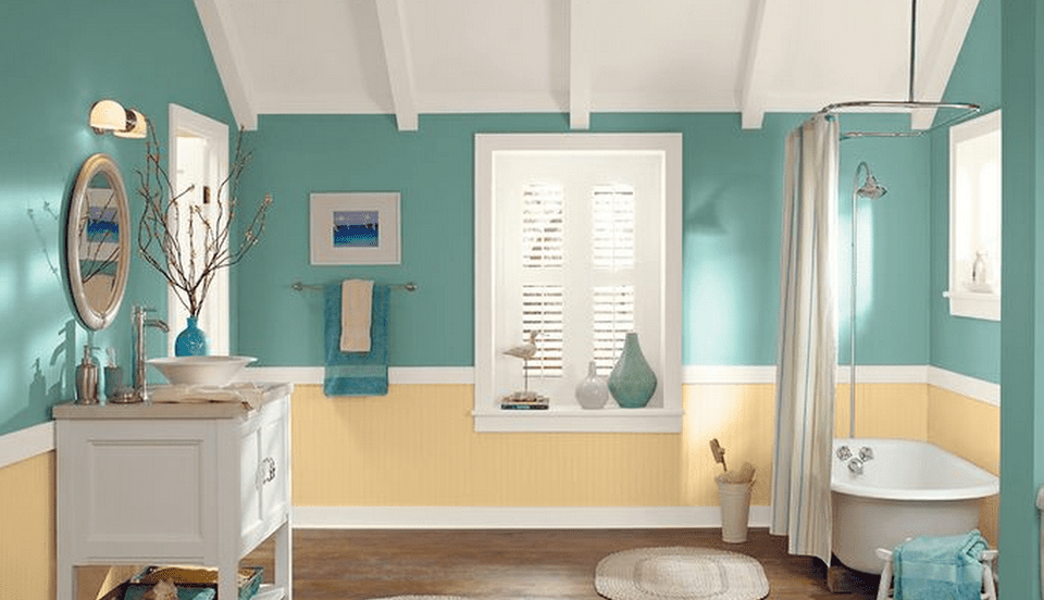 7 great colors for painting bathrooms for Green bathroom paint colors