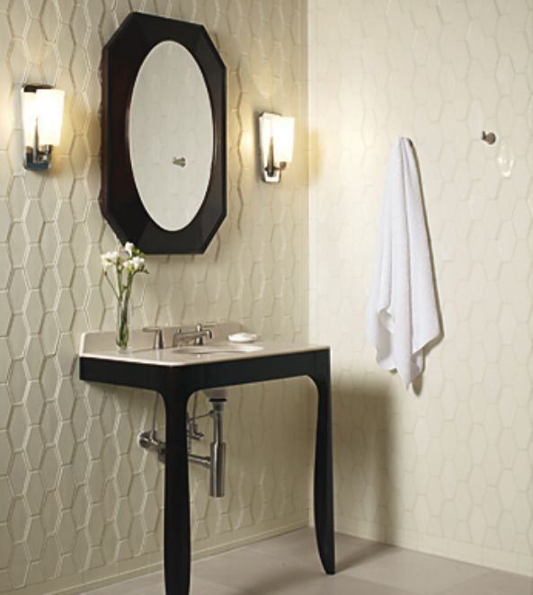 Dignified Bathroom Decorating Idea With Elegant Console And Wall Tile