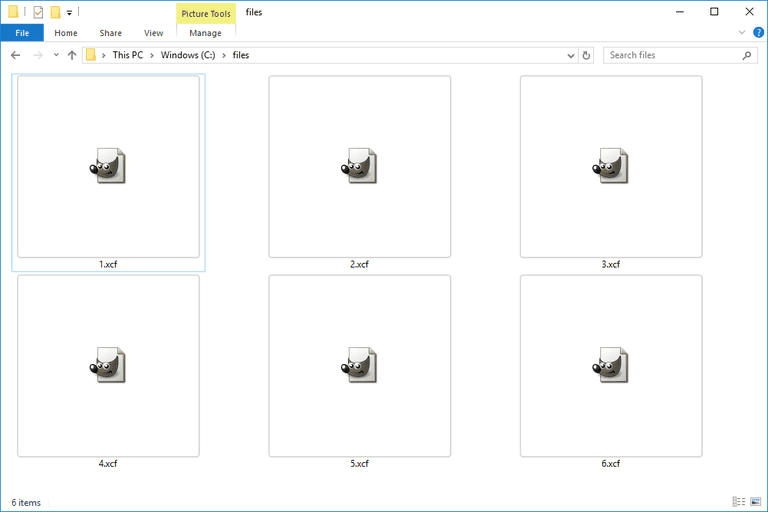 Screenshot of several XCF GIMP files in Windows 10