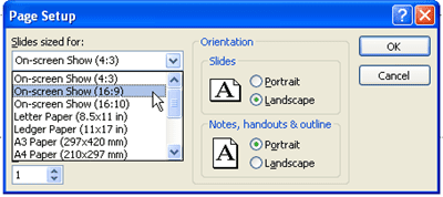 Show your powerpoint presentation in widescreen format choose the widescreen size format in powerpoint 2007 toneelgroepblik Choice Image