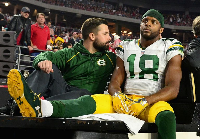 Randall Cobb is taken from the field with a chest injury in Green Bay's 2015 NFC playoff loss at Arizona.