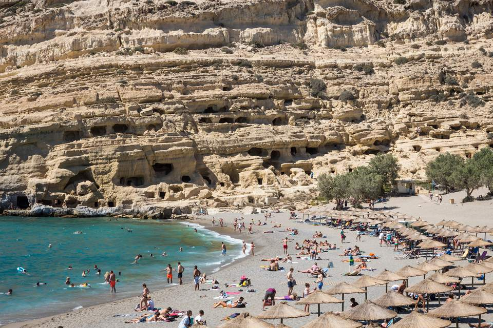 People At Beach In Matala