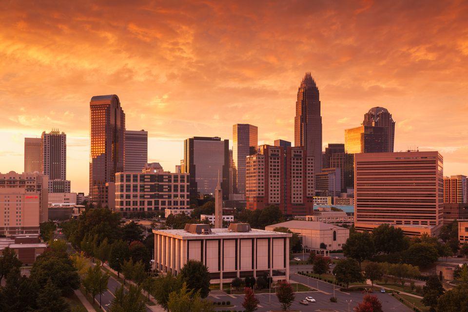 Charlotte, North Carolina, at sunset.