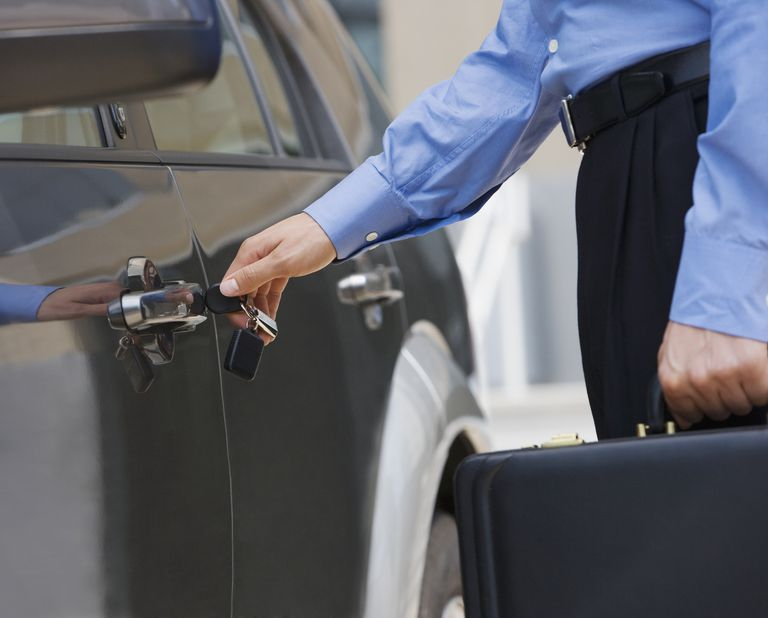 Businessman unlocking car door