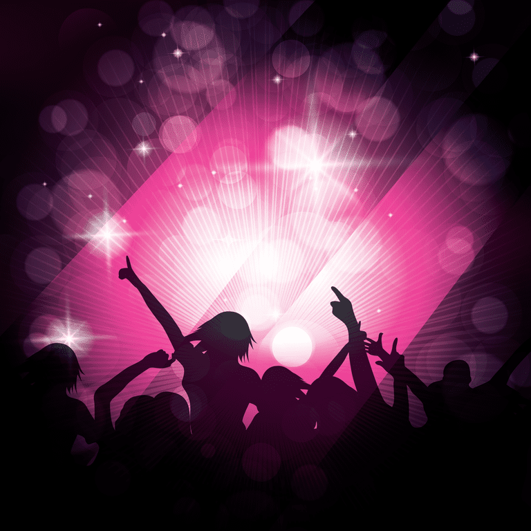 Silhouette of people having a party