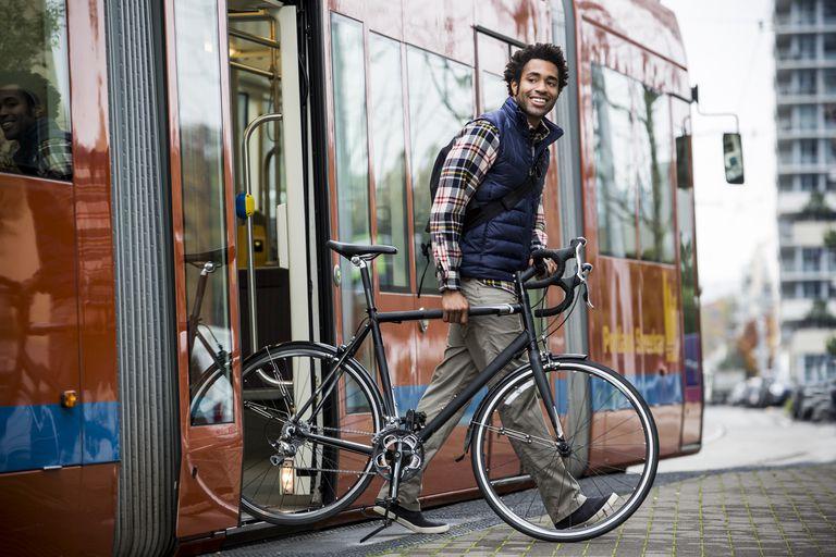 A man bike commuting.