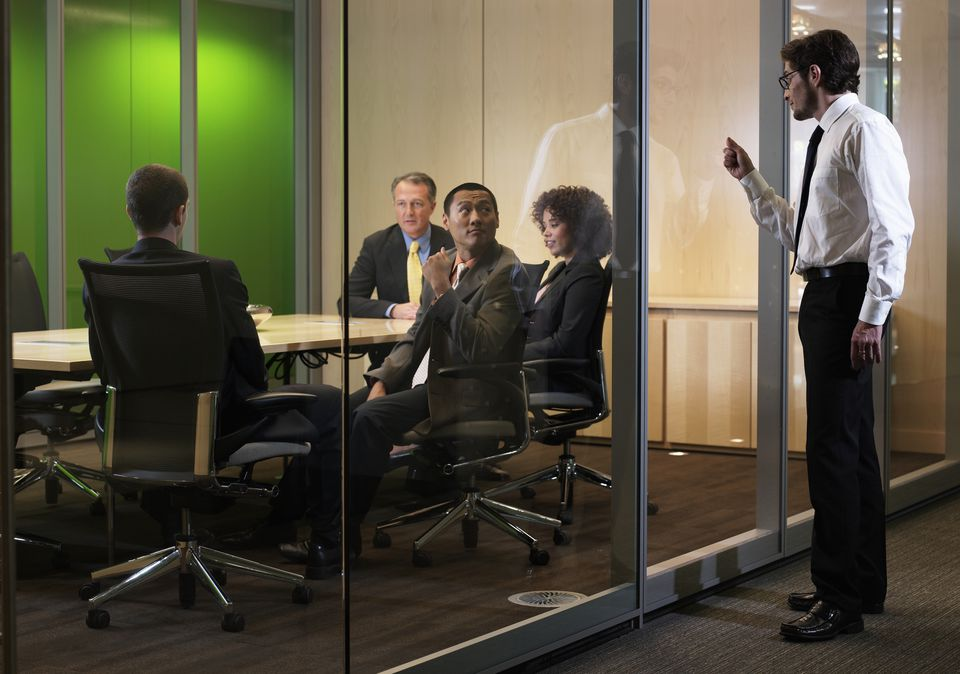 Man interrupting a meeting
