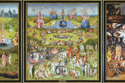 The Garden of Earthly Delights by Hieronymus Bosch, oil on wood, 1500s