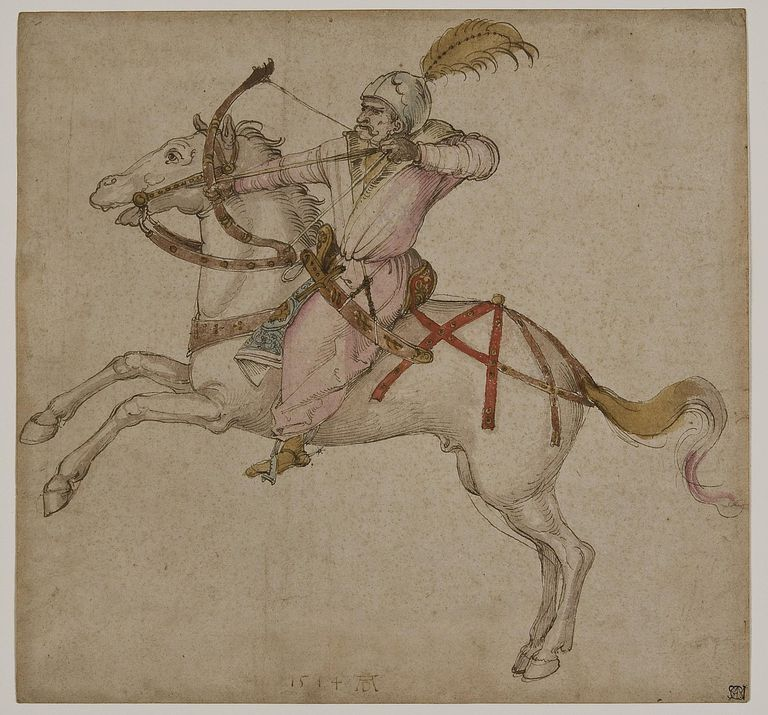 Oriental archer on horseback, by Albrecht Durer, pen, brush and watercolor, sheet 35 verso, 1514