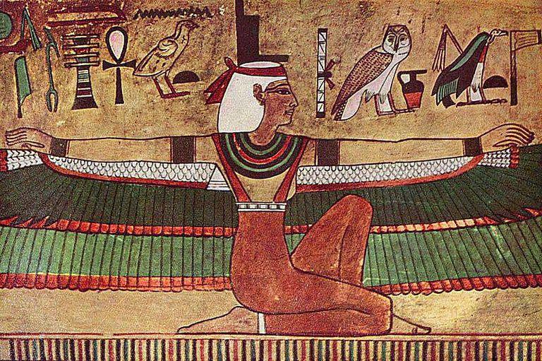 Pintura de la diosa Isis con alas
