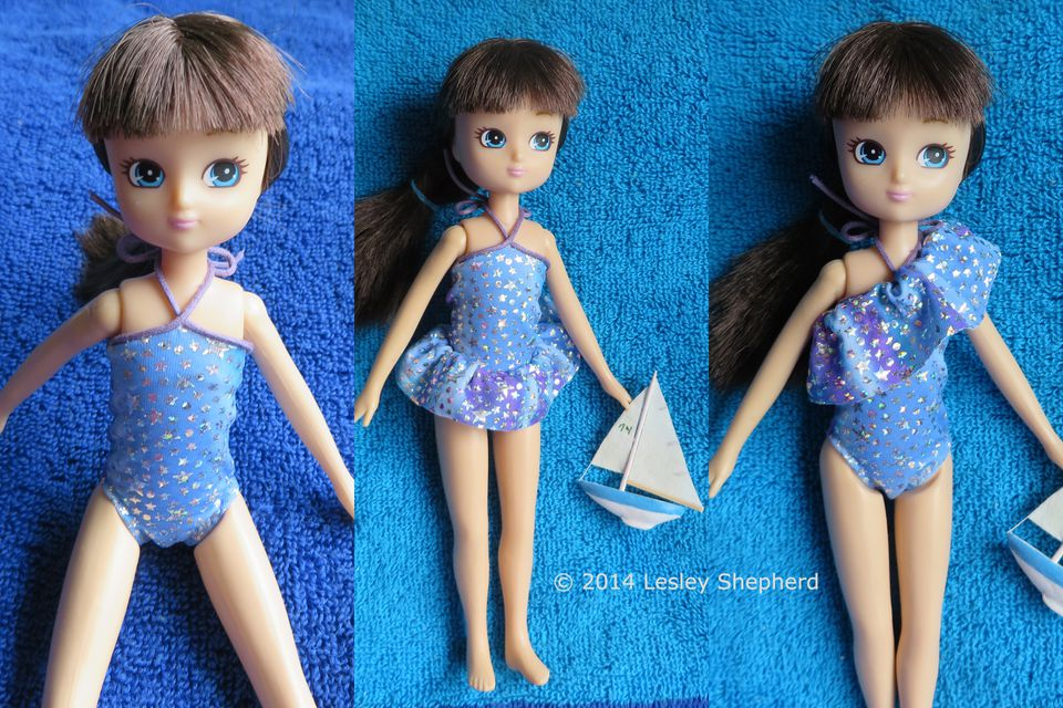 Three swimsuit styles made to fit any size or shape of doll.