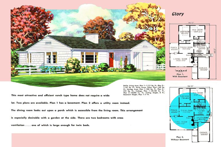 1950s Floor Plan And Rendering Of Ranch Style House Called Glory