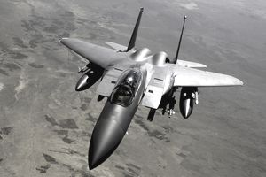 May 28, 2008 - A U.S. Air Force F-15E Strike Eagle aircraft returns to the fight after receiving fuel from a KC-135R Stratotanker during a mission over Afghanistan.