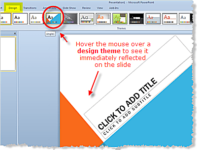 Design themes in powerpoint 2010 apply a design theme choose a powerpoint 2010 toneelgroepblik Images