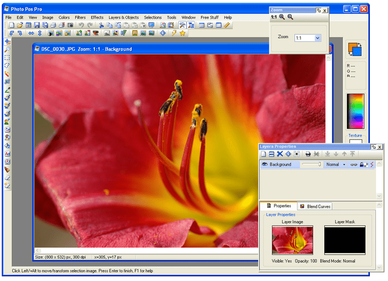 Screenshot of Photo Pos Pro in Windows XP