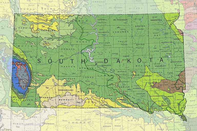 Map of South Dakota Cities and Roads - Geology