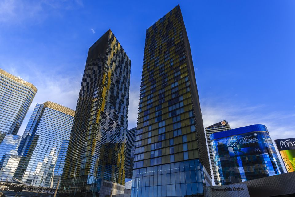 City Center Metropolis, Veer Towers, Aria, Cosmopolitan and Harmon hotels, early morning, Las Vegas, Nevada, United States of America, North America
