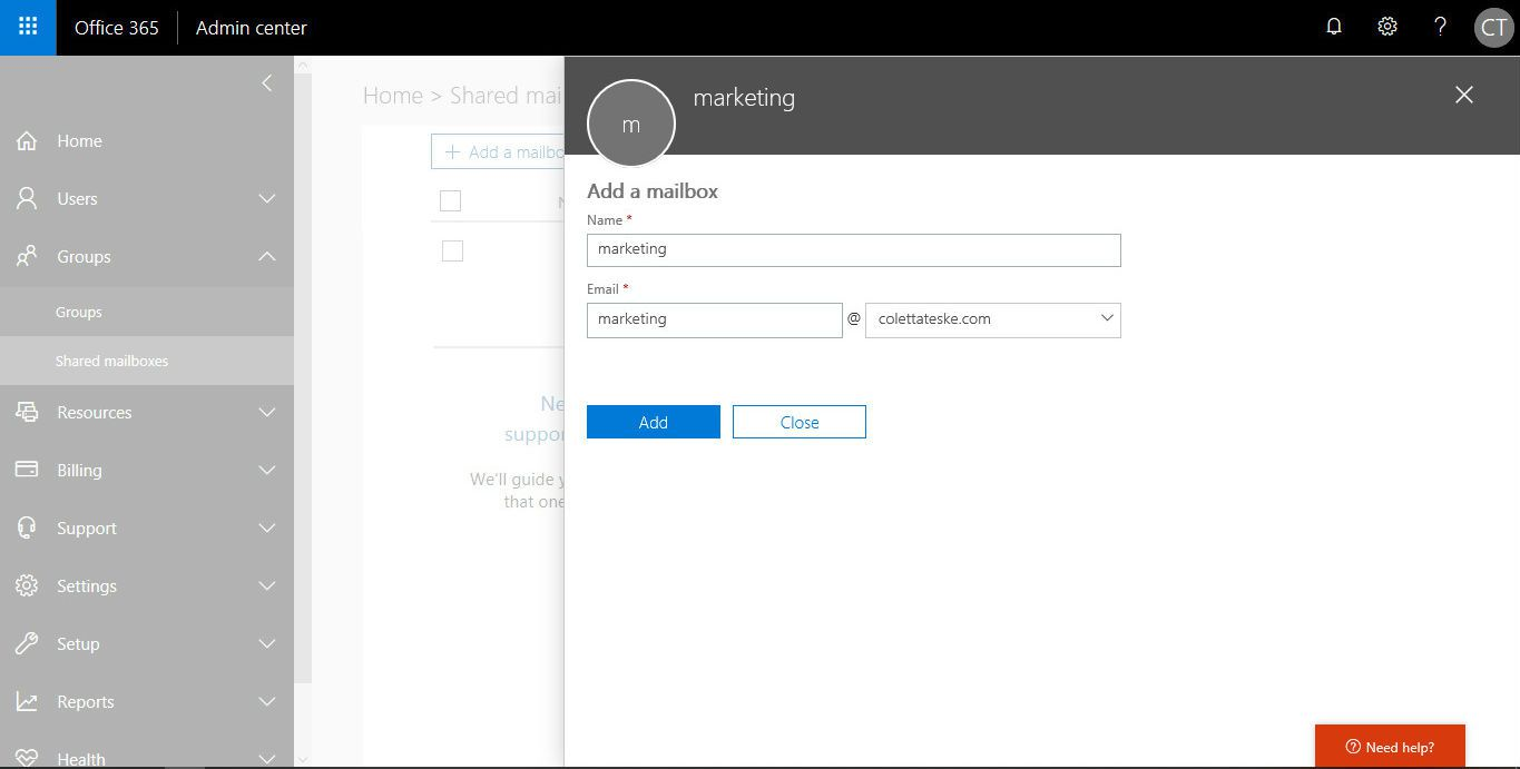 Image of the Microsoft Office 365 admin center showing the Add a mailbox page.