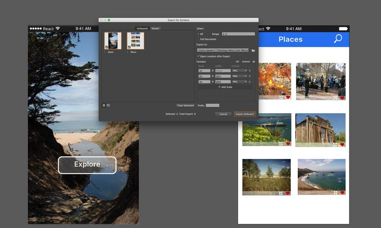 Image shows two Illustrator Artboards and the Export For Screens dialog box.