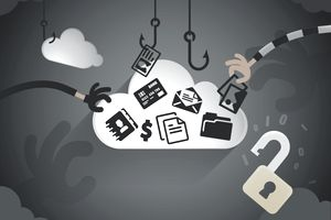 Illustration of hands grabbing identifying information from a cloud