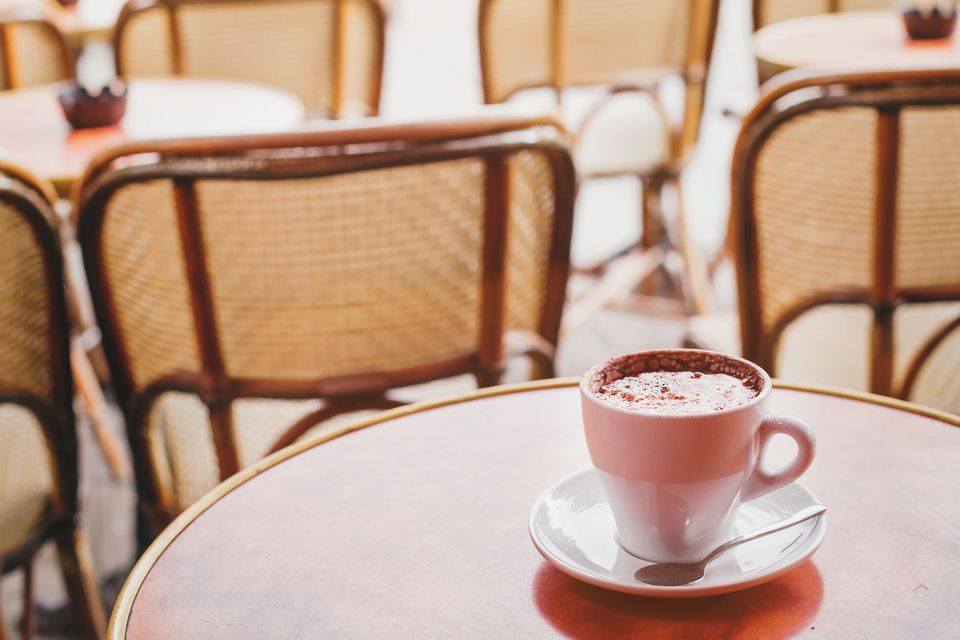 cup of hot chocolate or cappuccino in cafe