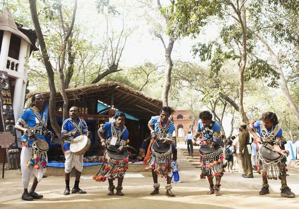Traditional Indian folk musicians performing in a fair, Surajkund Crafts Mela, Surajkund, Haryana
