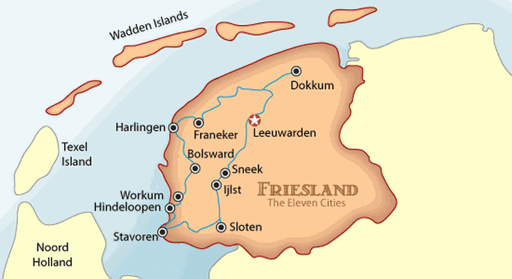 Friesland Eleven Cities Map and Travel Guide