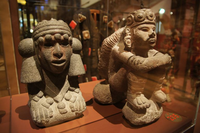 Two sculpted images of the Aztec water goddess, Chalchiuhtlicue, on display in Amsterdam's Tropenmuseum