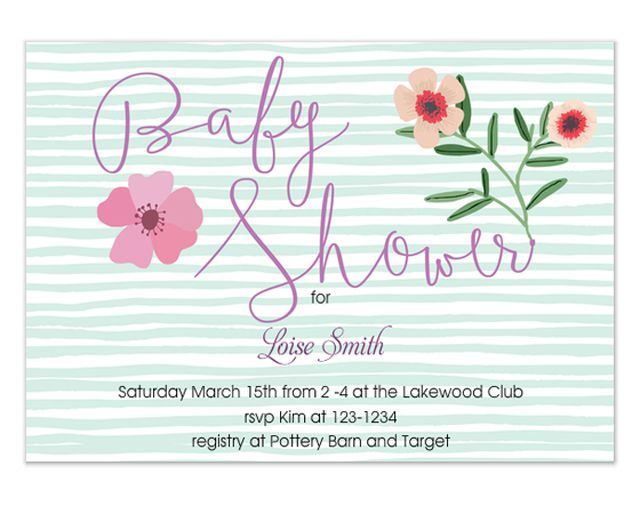 A green and white striped baby shower invitation with flowers.