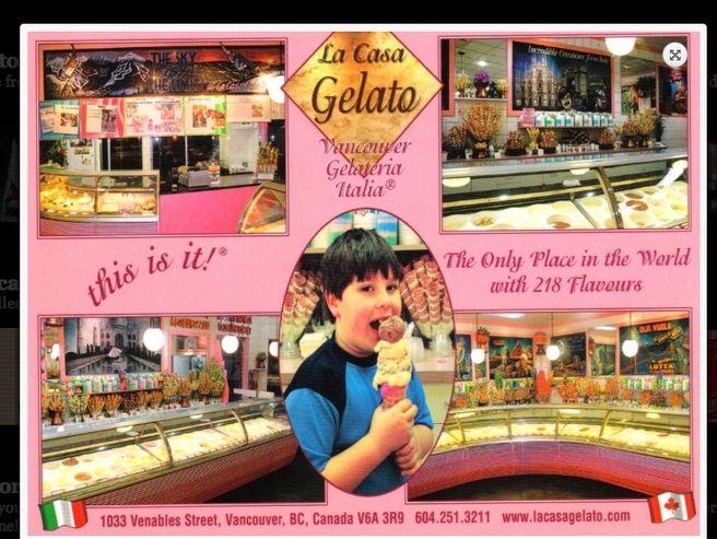 La Casa Gelato postcard