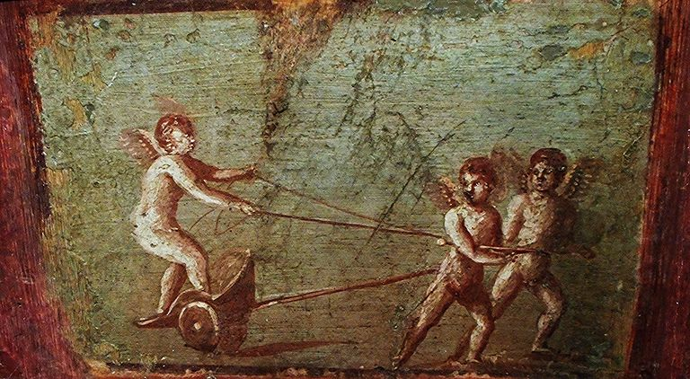 """""""Playing Cupids"""" - wall painting (60-79 AD) from Herculaneum, House of the Deer"""