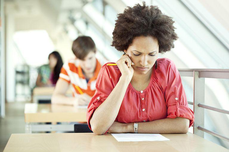 young woman at exam