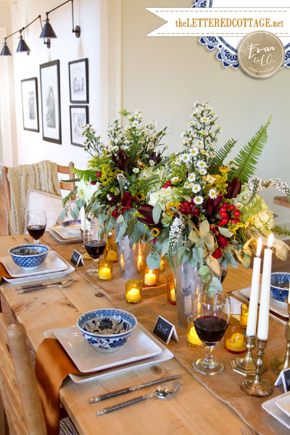 Fall dining room table decorating ideas - Dining Table Centerpiece