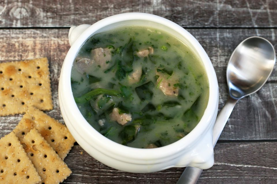 spinach soup with sausage and potatoes