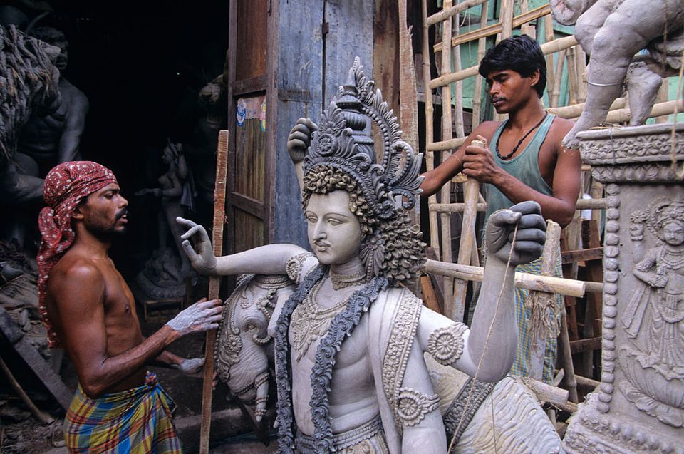 Preparation for Durga Puja Festival in Kolkata