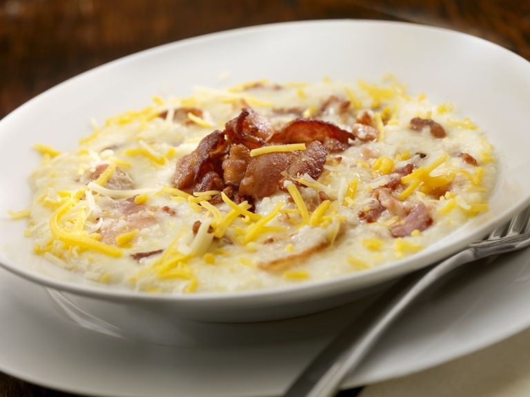 Cheesy grits with bacon.