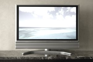 TV screen showing seascape (digital composite)