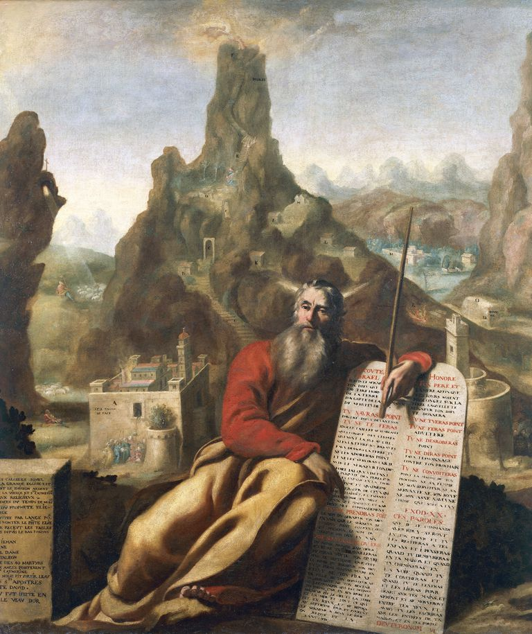 Moses on Mount Sinai by Jacques de Letin (1597-1661), oil on canvas, 210x232 cm, circa 1655