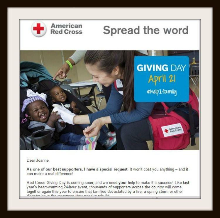 An email promoting the Red Cross Giving Day in April.