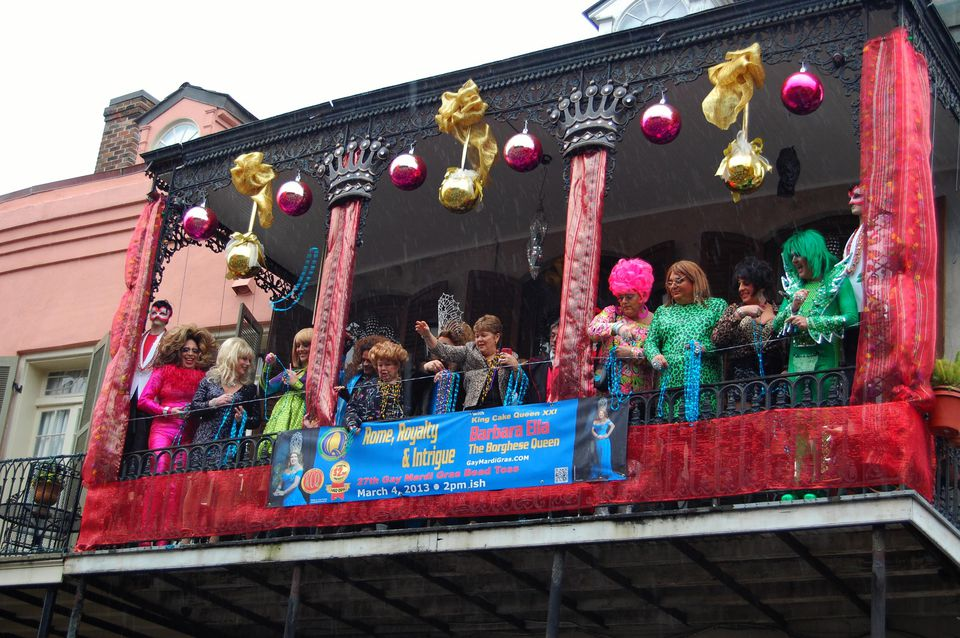 Mardi Gras Bead Toss On Bourbon Street in N'awlins on Mardi Gras!