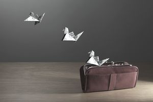 Origami Birds made of money flying from purse