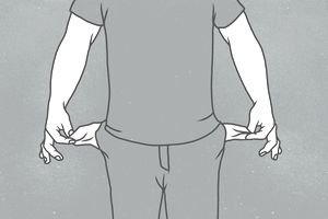 Midsection of man with showing empty pockets against gray background